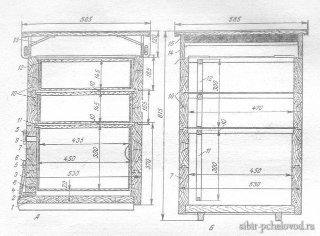 подробный чертеж 12-рамочного улья - дадана для пчел
